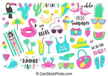 Summer set of design holiday elements