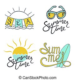 Summer. Set of Logo design for banner, poster, cover