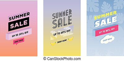 Summer set of sale and gift tags, labels with fun elements, hand drawn lettering and textures kit. Collection with palm tropical leaves, plants, banana and much more.