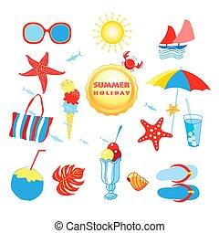 Summer set with different isolated objects