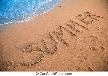 Summer sign on resort beach