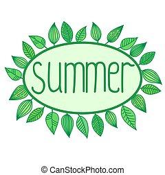 Summer sign with leaves around oval frame