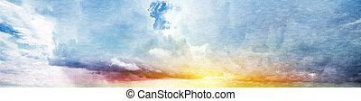 Summer sky. Canvas vintage background