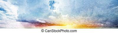 Summer sky. Canvas vintage background