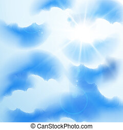 Cloudy summer sky with rays of sun, eps10 vector illustration