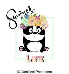 Summer slogan print with cute panda