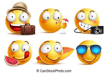Summer smileys vector set with facial expressions