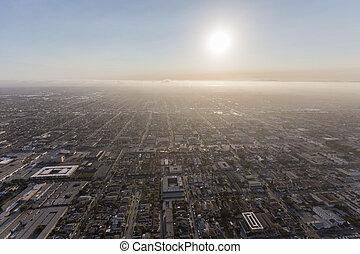 Summer Smog Aerial Los Angeles County California - Summer...