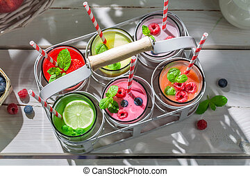 Summer smoothie with fresh fruits