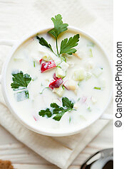 summer soup with yogurt, Okroshka