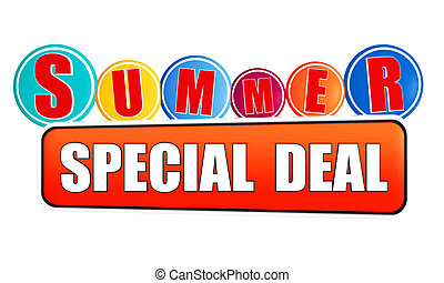 summer special deal - 3d orange banner with white text and color circles, business concept