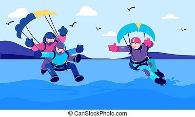 Summer sport activity, sea parachute jump vector illustration. Man woman people cartoon character fun extreme parachuting.