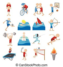 Summer sport cartoon icons set