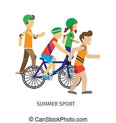 Summer Sport. Children Going in for Sport - Summer sport....