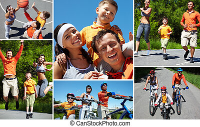 Collage of sporty family having active leisure