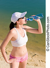 Summer sport fit woman drink water bottle - Summer beach...
