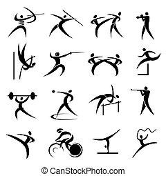 Summer sport games icons set - Set of Simple summer games...