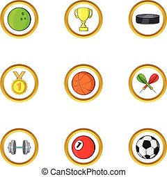 Summer sport icon set, cartoon style