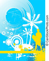 summer sport - wakeboarder - illustration of a wake-boarder...