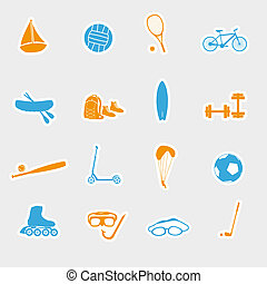 summer sports and equipment stickers eps10
