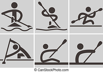 Rowing and Canoeing - Summer sports icons - Rowing and...