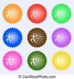 Summer sports, Javelin throw icon sign. Big set of colorful, diverse, high-quality buttons. Vector
