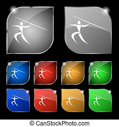 Summer sports, Javelin throw icon sign. Set of ten colorful buttons with glare. Vector