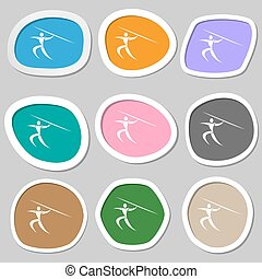 Summer sports, Javelin throw symbols. Multicolored paper stickers. Vector
