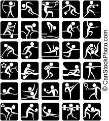 Set of 30 pictograms of the Olympic summer sports. No transparency and gradients used.