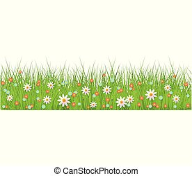 Summer, spring floral lush green grass and lawn seamless border on isolated background in realistic style.