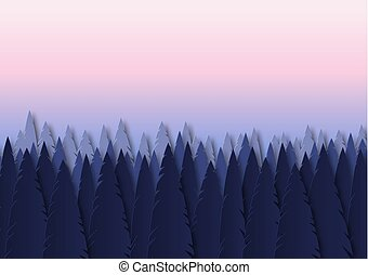 Summer spruce landscape with sunset. Paper cut design. Vector