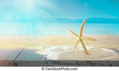 Summer star fish background. Vacations concept with star ...