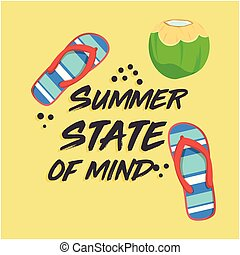 Summer State Of Mind Shoes Coconut Yellow Background Vector...