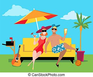 Young couple enjoying a staycation at the backyard under an umbrella, EPS 8 vector illustration