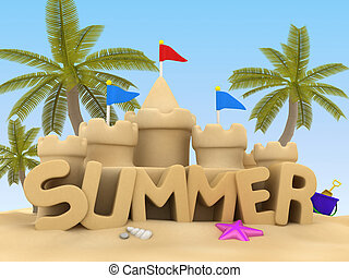 Summer - 3D Illustration of Summer Text made of Sand