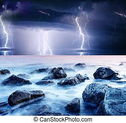 lightning - summer storm beginning with lightning