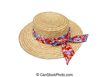 Summer straw hat with red ribbon isolated on white