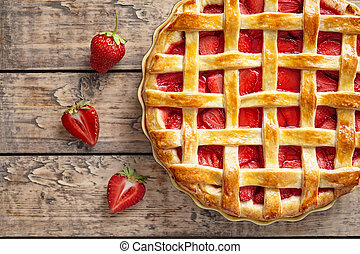 Summer strawberry pie tart cake traditional baked pastry food