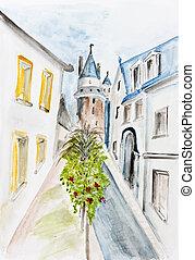 Summer street of Italian town - Summer street of ancient...