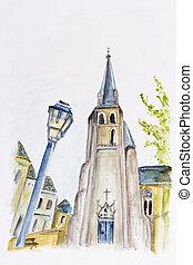 Summer street of old European town - Summer street of...