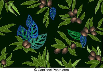 Summer subtropical garden. - Seamless floral pattern with...
