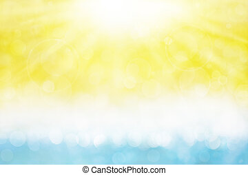 An abstracted water and sun image with soft bokeh patterns.