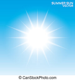 Summer sun background. Vector illustration. Sky.