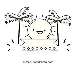 Summer sun cartoon vector design