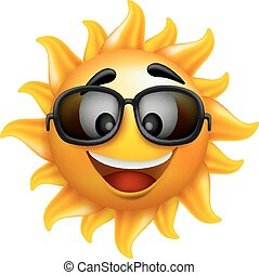 Summer Sun Face with Sunglasses