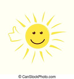 summer sun face with thumb up and happy smile