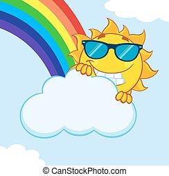 Summer Sun Hiding Behind Cloud - Smiling Summer Sun Mascot ...