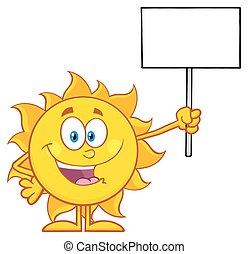 Summer Sun Holding A Blank Sign