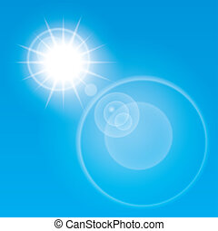 Summer sun lens flare background.