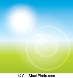Summer sun lens flare background. Landscape blur.